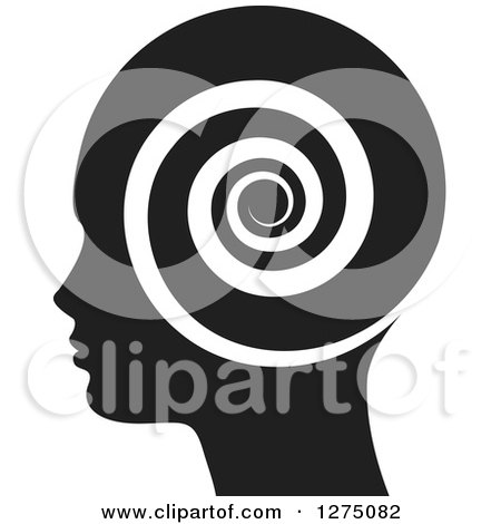Clipart of a Silhouetted Black Head in Profile, with a Spiral - Royalty Free Vector Illustration by Lal Perera