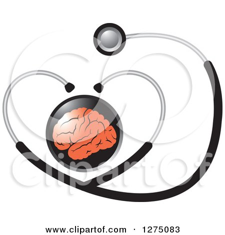 Clipart of a Round Black Icon with a Red Brain and Heart Medical Stethoscope - Royalty Free Vector Illustration by Lal Perera