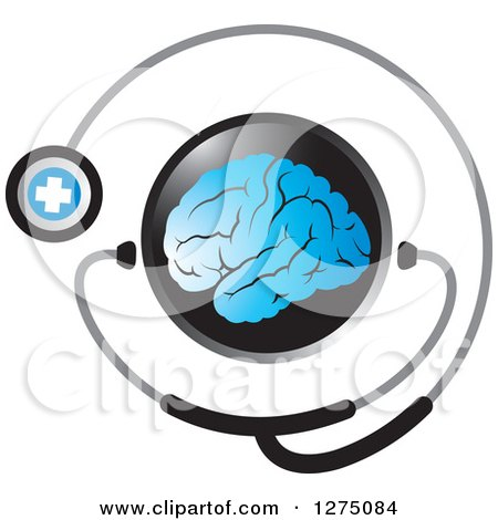 Clipart of a Round Black Icon with a Blue Brain and Medical Stethoscope - Royalty Free Vector Illustration by Lal Perera