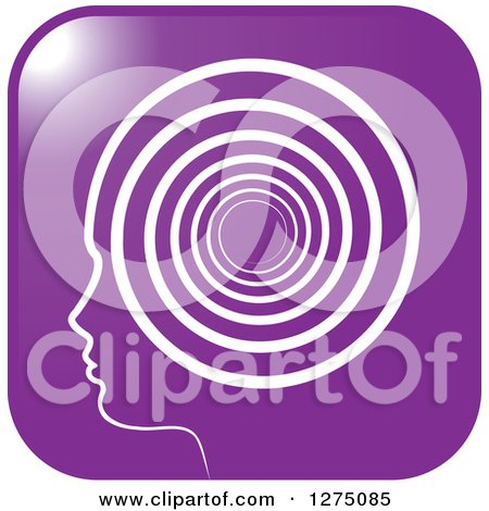 Clipart of a Silhouetted Purple Head in Profile Icon, with a Spiral - Royalty Free Vector Illustration by Lal Perera