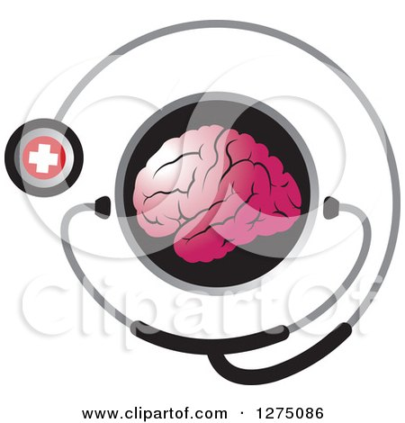 Clipart of a Round Black Icon with a Pink Brain and Medical Stethoscope - Royalty Free Vector Illustration by Lal Perera