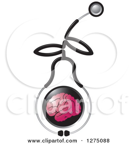 Clipart of a Medical Stethoscope Forming a Pear Around a Pink Brain - Royalty Free Vector Illustration by Lal Perera