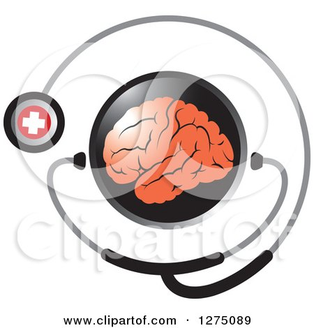 Clipart of a Round Black Icon with a Red Brain and Medical Stethoscope - Royalty Free Vector Illustration by Lal Perera