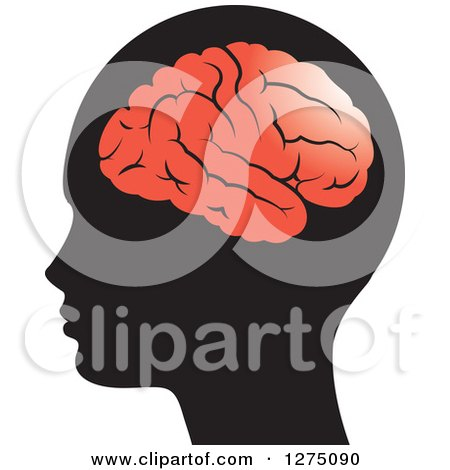 Clipart of a Silhouetted Human Head and Red Brain - Royalty Free Vector Illustration by Lal Perera