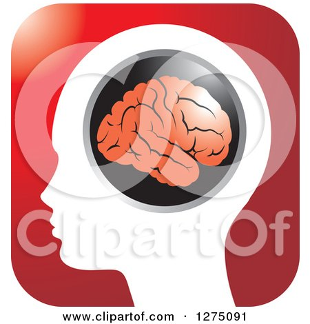 Clipart of a Silhouetted Human Head and Red Brain Icon - Royalty Free Vector Illustration by Lal Perera