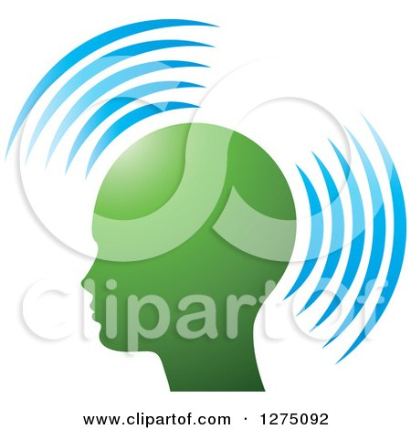 Clipart of a Silhouetted Green Head in Profile, with Blue Signals - Royalty Free Vector Illustration by Lal Perera