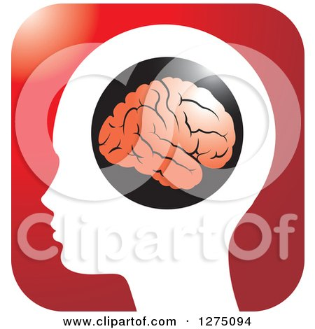 Clipart of a Silhouetted Human Head and Red Brain Icon 3 - Royalty Free Vector Illustration by Lal Perera