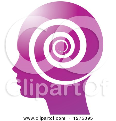 Clipart of a Silhouetted Purple Head in Profile, with a Spiral - Royalty Free Vector Illustration by Lal Perera