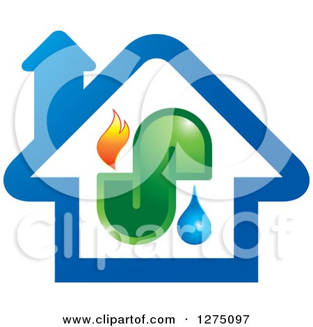 Clipart of a Blue House with Fire Water and Pipes - Royalty Free Vector Illustration by Lal Perera