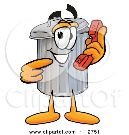 Clipart Picture of a Garbage Can Mascot Cartoon Character Holding a Telephone by Toons4Biz