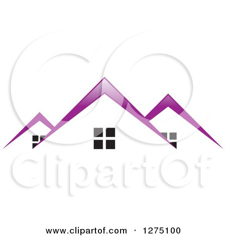Clipart of Houses with Purple Roof Tops - Royalty Free Vector Illustration by Lal Perera