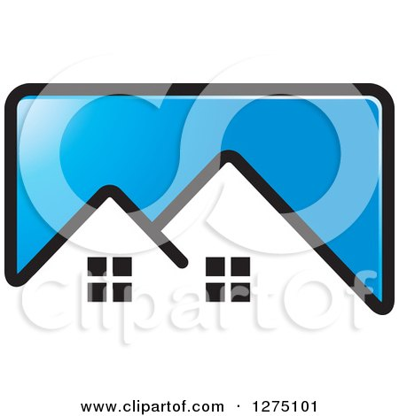 Clipart of a Blue Icon with a House Roof Top - Royalty Free Vector Illustration by Lal Perera