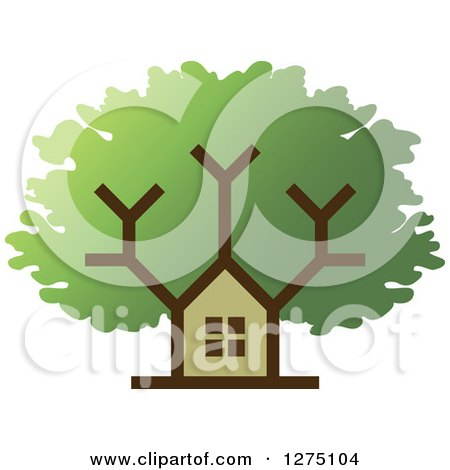Clipart of a House Tree - Royalty Free Vector Illustration by Lal Perera