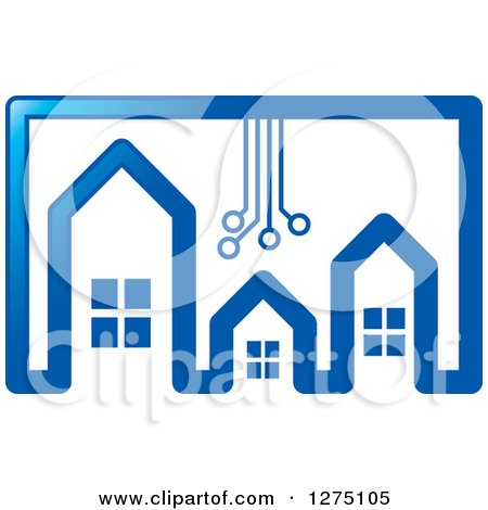 Clipart of a Blue Houses with Circuitry - Royalty Free Vector Illustration by Lal Perera
