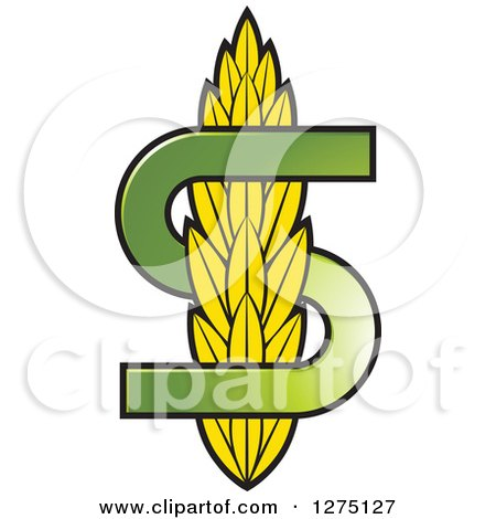 Clipart of a Green Letter S and Wheat - Royalty Free Vector Illustration by Lal Perera
