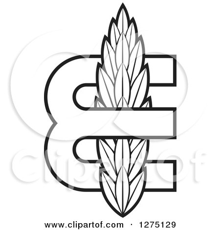 Clipart of a Black and White Letter E with Wheat - Royalty Free Vector Illustration by Lal Perera