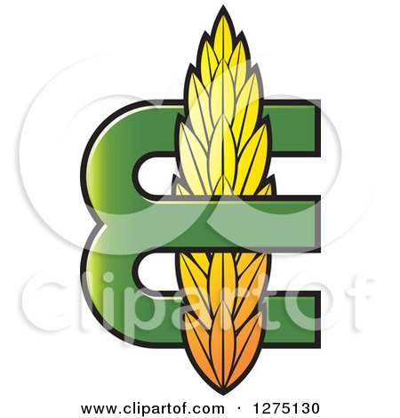 Clipart of a Green Letter E with Wheat - Royalty Free Vector Illustration by Lal Perera