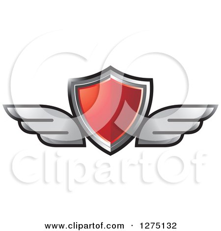 Clipart of a Red Shield with Silver Wings - Royalty Free Vector Illustration by Lal Perera