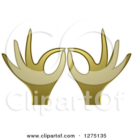 Clipart of Gold Hands Gesturing Ok - Royalty Free Vector Illustration by Lal Perera
