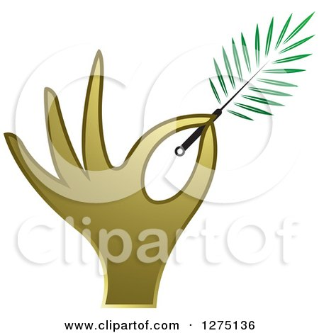 Clipart of a Gold Hand Holding a Branch or Duster - Royalty Free Vector Illustration by Lal Perera