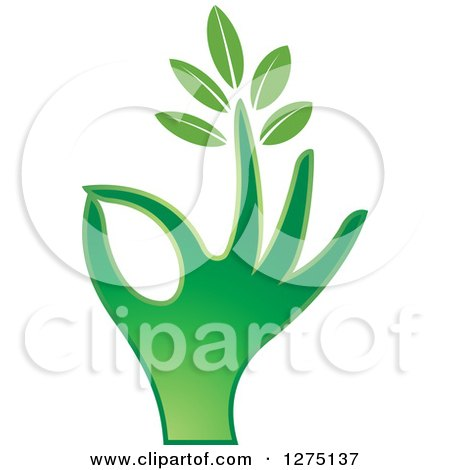 Clipart of a Green Hand Gesturing Ok with a Leafy Finger - Royalty Free Vector Illustration by Lal Perera