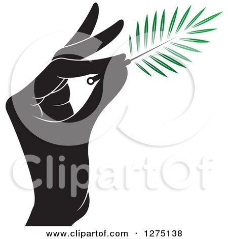Clipart of a Black and White Hand Holding a Branch or Duster - Royalty Free Vector Illustration by Lal Perera