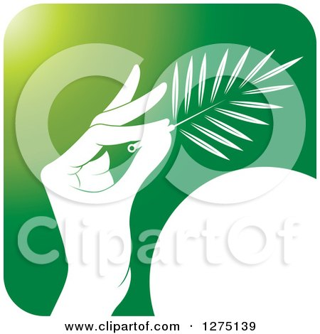 Clipart of a Green and White Hand Holding a Branch or Duster Icon - Royalty Free Vector Illustration by Lal Perera