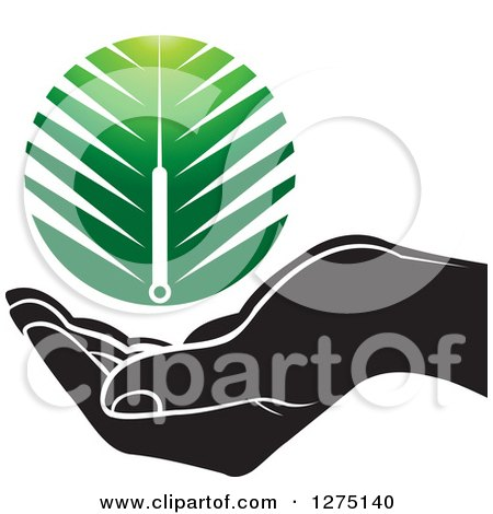 Clipart of a Black and White Hand Under a Green Branch or Duster - Royalty Free Vector Illustration by Lal Perera