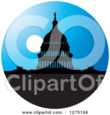 Clipart of a Silhouetted Capitol Building at Night - Royalty Free Vector Illustration by Lal Perera