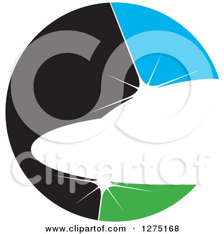 Clipart of a Black Blue and Green Abstract Shiny Jet Icon - Royalty Free Vector Illustration by Lal Perera