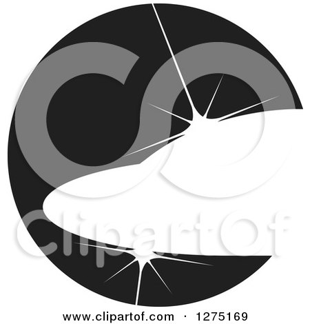Clipart of a Black and White Abstract Shiny Jet Icon - Royalty Free Vector Illustration by Lal Perera
