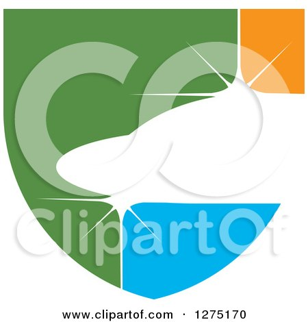 Clipart of a Green Orange and Blue Abstract Shiny Jet Icon - Royalty Free Vector Illustration by Lal Perera