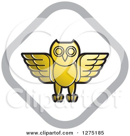 Clipart of a Gold White and Silver Diamond Owl Icon - Royalty Free Vector Illustration by Lal Perera