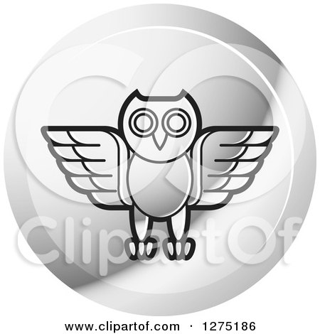 Clipart of a Silver Owl Icon - Royalty Free Vector Illustration by Lal Perera
