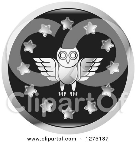 Clipart of a Silver Owl and Star Icon - Royalty Free Vector Illustration by Lal Perera