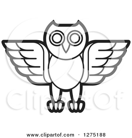 Clipart of a Black and White Owl Icon - Royalty Free Vector Illustration by Lal Perera