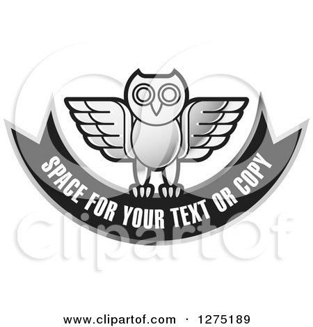 Clipart of a Silver and Black Owl and Banner Icon - Royalty Free Vector Illustration by Lal Perera