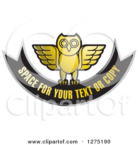 Clipart of a Gold Silver and Black Owl and Banner Icon - Royalty Free Vector Illustration by Lal Perera