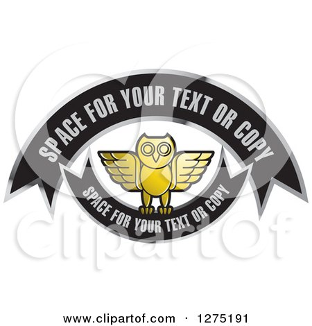 Clipart of a Gold Silver and Black Owl and Banners Icon - Royalty Free Vector Illustration by Lal Perera