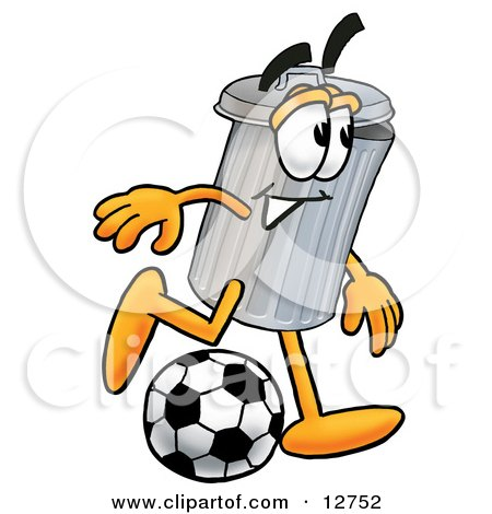 Clipart Picture of a Garbage Can Mascot Cartoon Character Kicking a Soccer Ball by Toons4Biz