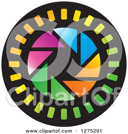 Clipart of a Colorful Shutter Icon 2 - Royalty Free Vector Illustration by Lal Perera