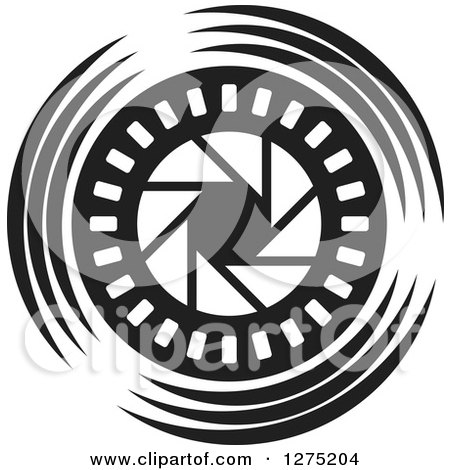 Clipart of a Black and White Shutter Icon - Royalty Free Vector Illustration by Lal Perera