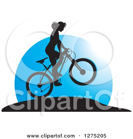 Clipart of a Silhouetted Female Mountain Biker Jumping Against a Blue Circle - Royalty Free Vector Illustration by Lal Perera