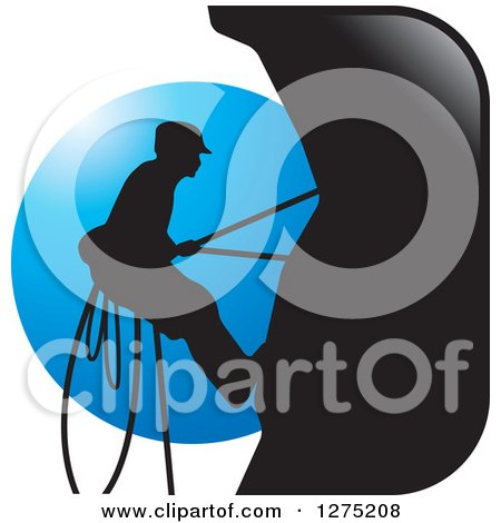 Clipart of a Silhouetted Male Mountain Climber Against a Blue Circle - Royalty Free Vector Illustration by Lal Perera