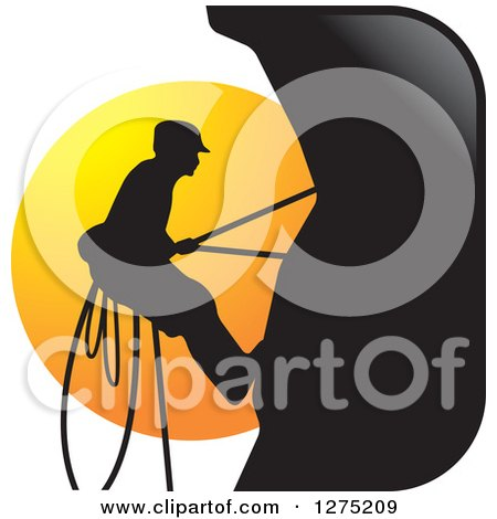 Clipart of a Silhouetted Male Mountain Climber Against a Sunset Circle - Royalty Free Vector Illustration by Lal Perera