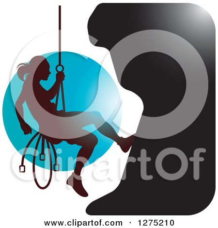 Clipart of a Silhouetted Female Mountain Climber Rapelling Against a Blue Circle - Royalty Free Vector Illustration by Lal Perera