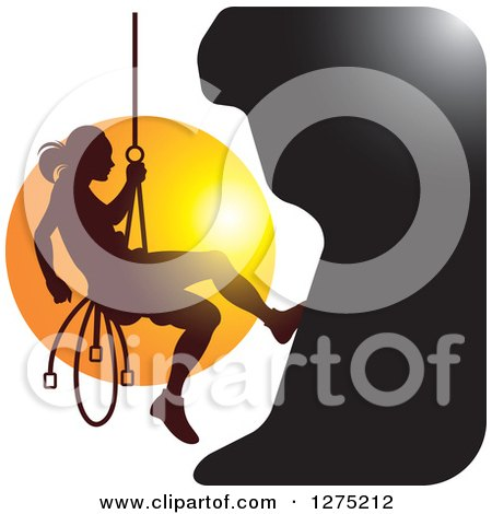 Clipart of a Silhouetted Female Mountain Climber Rapelling Against a Sunset - Royalty Free Vector Illustration by Lal Perera