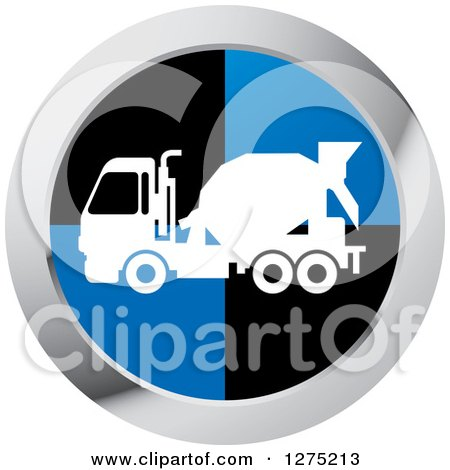 Clipart of a White Silhouetted Concrete Mixer Truck in a Black Blue and Silver Icon - Royalty Free Vector Illustration by Lal Perera