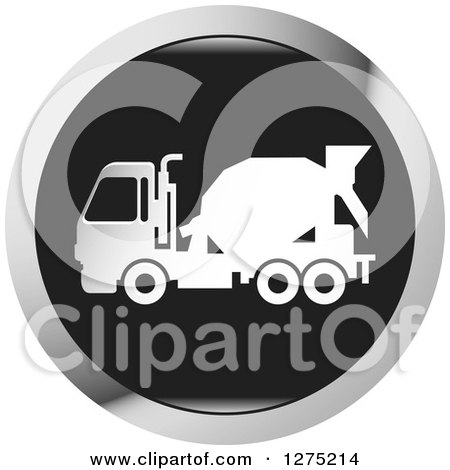 Clipart of a White Silhouetted Concrete Mixer Truck in a Black and Silver Icon - Royalty Free Vector Illustration by Lal Perera