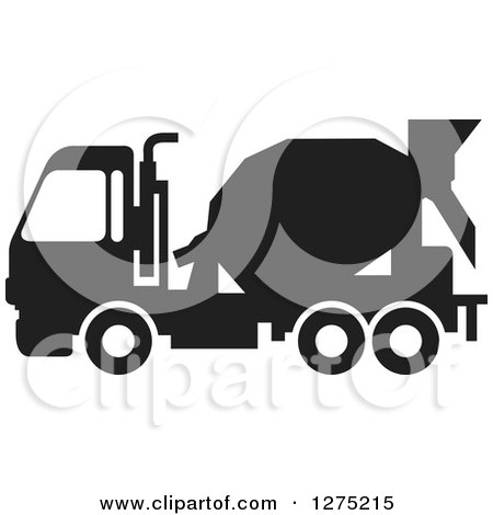 Clipart of a Black Silhouetted Concrete Mixer Truck - Royalty Free Vector Illustration by Lal Perera